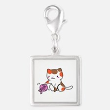 calico kitten with yarn Charms