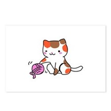 calico kitten with yarn Postcards (Package of 8)