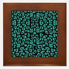 Aqua Blue Leopard Print Sparkle Framed Tile