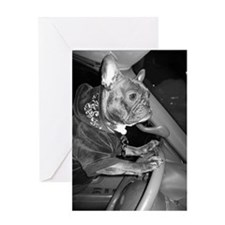 DRIVING MISS FRENCHIE Greeting Card