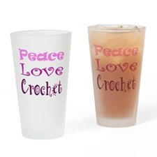 Peace Love Crochet Drinking Glass