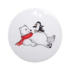PENGUIN ON POLAR BEAR Ornament (Round)