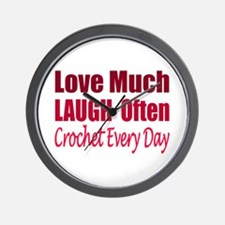 Love Laugh Crochet Every Day Wall Clock