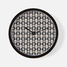 Cute Owl Pattern on Black Background Wall Clock