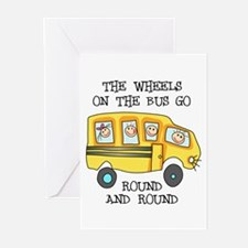 THE WHEELS ON THE BUS Greeting Cards