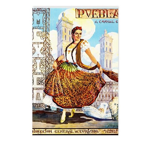 puebla mexico vintage travel postcards package by
