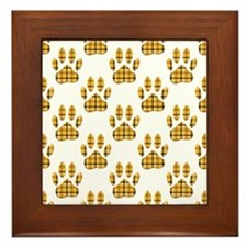 Dog Paw Print Tartan Pattern  Framed Tile