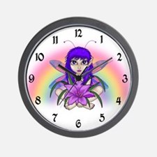 Rainbow Fairy Purple Wall Clock
