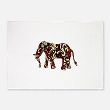 Tribal Tattoo Elephant Cream, Yello 5'x7'Area Rug