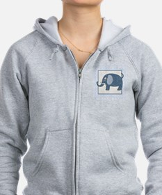 Blue Calico Baby Elephant with Zip Hoodie