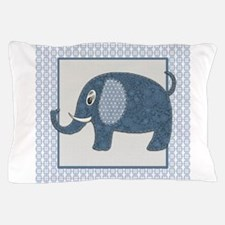 Blue Calico Baby Elephant with Blue & Pillow Case