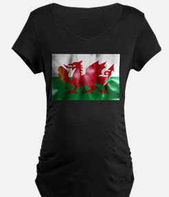 Welsh Dragon Rugby Ball Flag Maternity T-Shirt