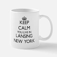Keep calm you live in Lansing New York Mugs