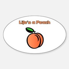 Life's A Peach Oval Decal