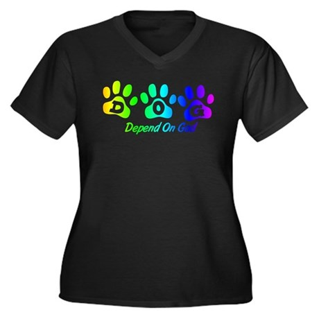 Rainbow DOG Women's Plus Size V-Neck Dark T-Shirt