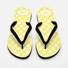 Yellow Gingham Monogram Flip Flops
