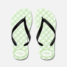 Mint Gingham Pattern Flip Flops