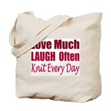 Love, Laugh Knit Every Day Tote Bag