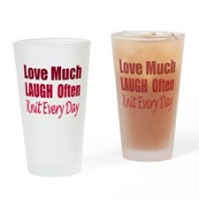 Love, Laugh Knit Every Day Drinking Glass