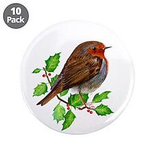 "Robin Bird, Robin Redbreast, 3.5"" Button (10 pack)"