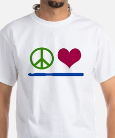 Symbols: Peace, Love, Crochet T-Shirt
