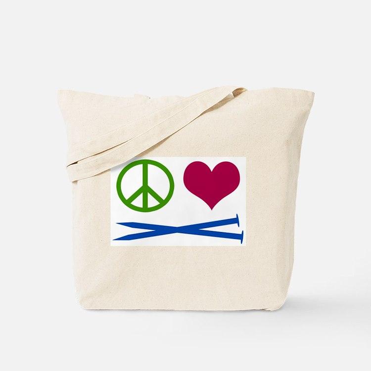 Symbols: Peace, Love, Knit Tote Bag