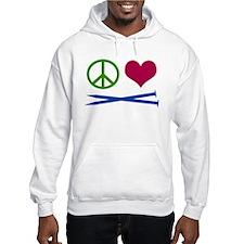Symbols: Peace, Love, Knit Hoodie