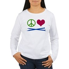 Symbols: Peace, Love, Knit Long Sleeve T-Shirt