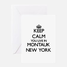 Keep calm you live in Montauk New Y Greeting Cards