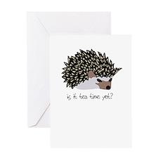 hedgehog is it tea time yet Greeting Cards