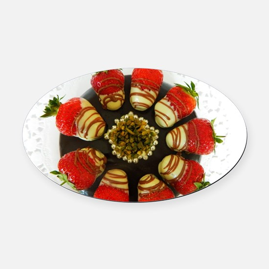 chocolate covered strawberries Oval Car Magnet