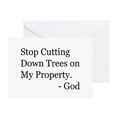 Stop Cutting Trees Greeting Card