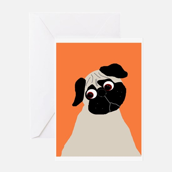 Orange Pug Greeting Card