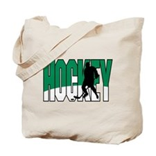 Green & White Hockey Logo Tote Bag