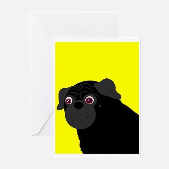Yellow Pug Greeting Card