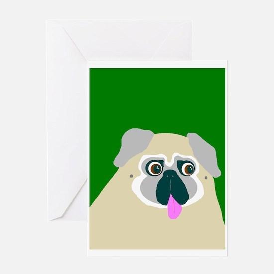 Green Pug Greeting Card