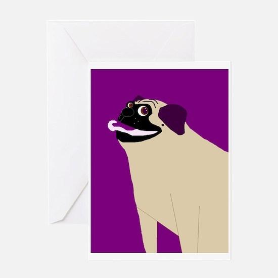 Purple Pug Greeting Card