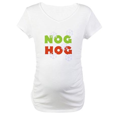 Nog Hog Christmas Maternity T-Shirt