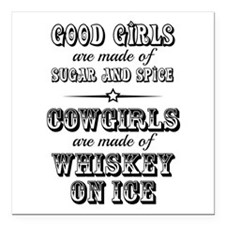 "Whiskey on Ice Square Car Magnet 3"" x 3"""