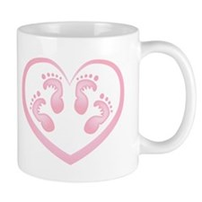 Baby Girl Twins Footprints Mugs