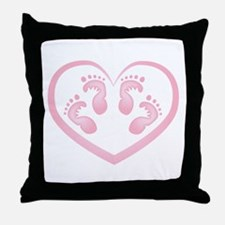 Baby Girl Twins Footprints Throw Pillow
