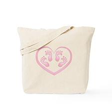 Baby Girl Twins Footprints Tote Bag