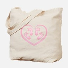 Baby Girl Twins Footprints Tote Bag