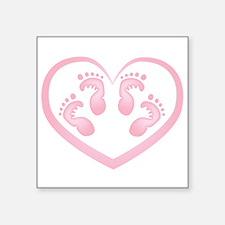 Baby Girl Twins Footprints Sticker