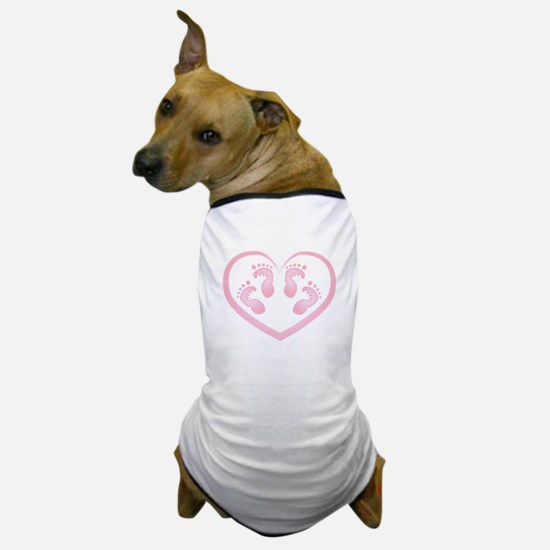 Baby Girl Twins Footprints Dog T-Shirt