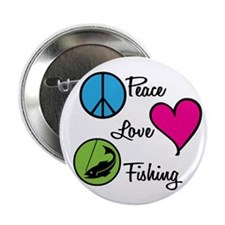 Peace Love Fishing Button
