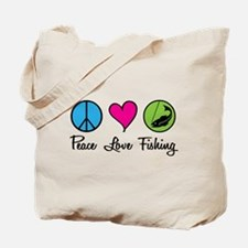 Peace Love Fishing Tote Bag