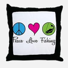 Peace Love Fishing Throw Pillow
