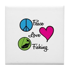 Peace Love Fishing Tile Coaster