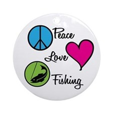 Peace Love Fishing Ornament (Round)